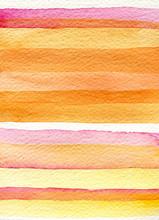 Bright Watercolor Orange Lines On Paper