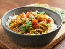 Curried Mung Bean Sprouts On Rice