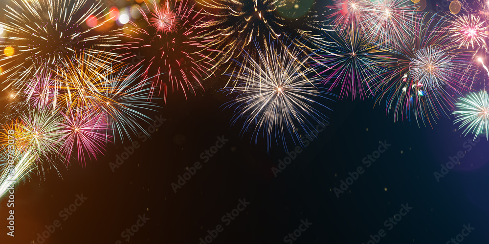 Colorful firework with bokeh background. New Year celebration, Abstract holiday background