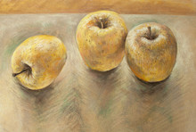 Soft Pastel Drawing Of Three Yellow Apples