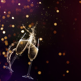 Glasses of champagne levitating in the air, celebration theme.