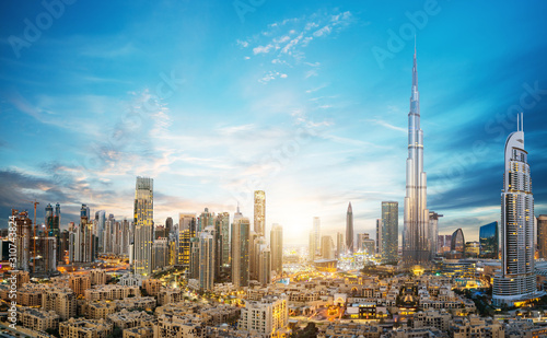 Amazing panoramic view on Dubai futuristic skyline, Downtown Dubai, United Arab Wallpaper Mural
