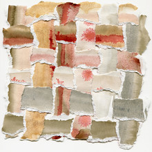 Watercolor Woven Paper Collage In Earth Colors