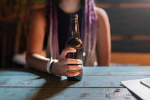 Concept: Girl Drinking A Beer