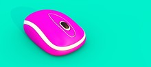 Wireless Pink Mouse On A Turquoise Background. 3D Illustration. Cyberpunk Concept. Trendy Background With Aesthetics Of Vaporwave Style Of 80's.