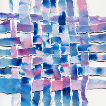Watercolor Woven Paper Collage In Blue And Violet Shades