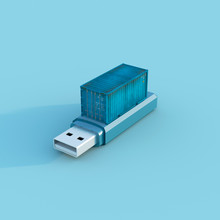 Cargo Container On Top Of An Usb Pen Drive