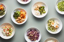 Composed Bowls Of Prepared Meals