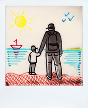 Boy With His Father On The Beach