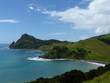 Landscape of north Coromandel in New Zealand, pacific ocean, beach and mountains