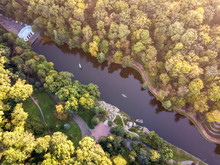 Aerial View From Drone To Pavil' Yon Flory And Nyzhnii Stav In N