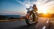 Leinwandbild Motiv motorbike on the coastal road riding. having fun driving the empty highway on a motorcycle tour journey