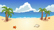 Beach Background With Palm Tre...