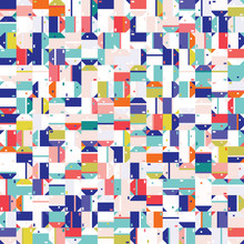 Dense Packed Close Up Mini Geometric Grid Texture Background. Classic Blue Red White Abstract Macro Seamless Pattern. Playfull Painterly All Over Print. Bauhaus Shape Repeat Swatch Tile Vector EPS 10