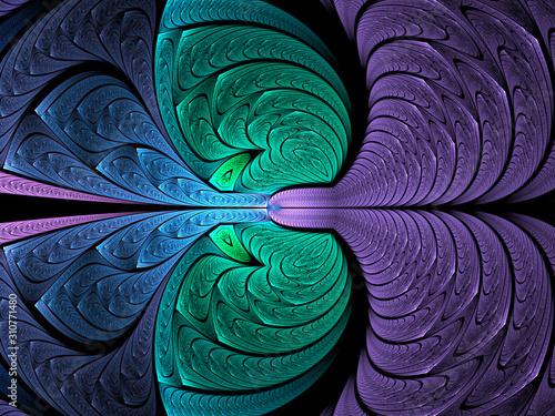 Obraz Abstract fractal background, computer-generated illustration. - fototapety do salonu