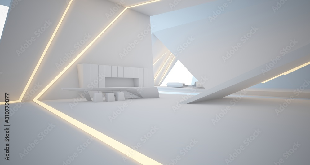 Fototapeta Abstract architectural white interior of a minimalist house with swimming pool and neon lighting. 3D illustration and rendering.