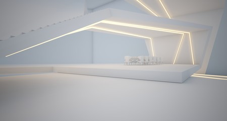 Abstract architectural white interior of a minimalist house with swimming pool and neon lighting. 3D illustration and rendering.