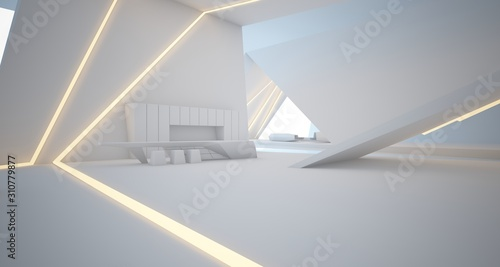 Fototapeta Abstract architectural white interior of a minimalist house with swimming pool and neon lighting. 3D illustration and rendering. obraz