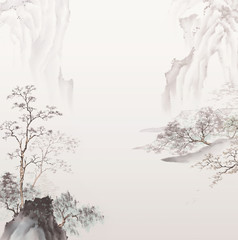 Panel Szklany 3D Traditional oriental ink painting.Traditional Chinese painting of high mountain landscape.