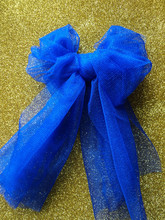 Bright Blue Bow With Golden Ba...