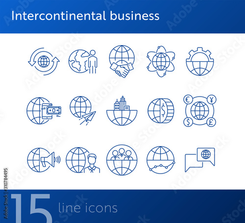 Obraz Intercontinental business line icon set - fototapety do salonu