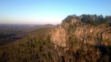 Aerial Pullout King's Pinnacle In Crowder Mountain State Park