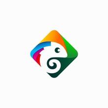 Chameleon Logo That Formed Squ...