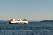 Washington Ferry On Puget Sound Along The Shores Of Seattle Area