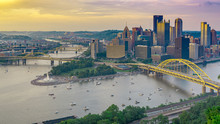 Pittsburgh With Cloud To Cloud Lightning