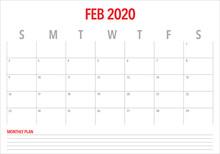 February 2020 Desk Calendar Ve...
