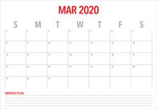 March 2020 Desk Calendar Vecto...