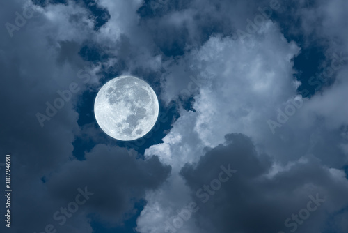 Fototapety, obrazy: Bright full moon with clouds on the sky.