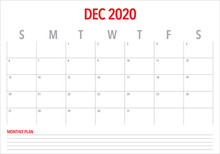 December 2020 Desk Calendar Vector Illustration