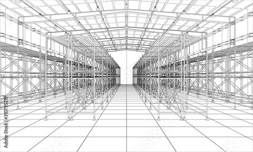 Fotomural Drawing or sketch of warehouse with shelves