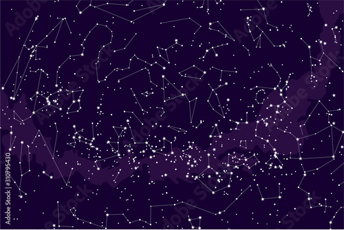 true constellations of the southern hemisphere, star map Wallpaper Mural