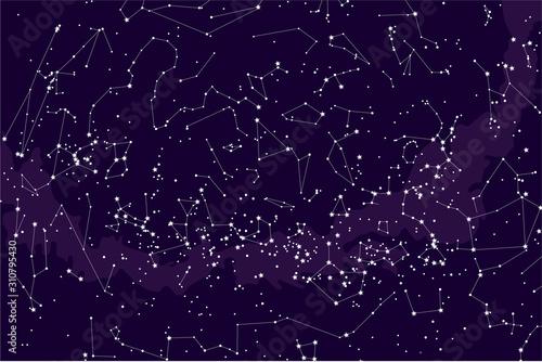 true constellations of the southern hemisphere, star map Fototapet