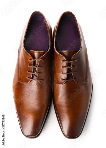 Fototapeta Stylish male shoes on white background obraz na płótnie