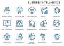 Business Intelligence Icons Set. Vector Illustration. Editable Stroke.