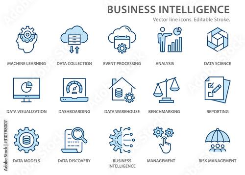 Leinwand Poster Business Intelligence icons set