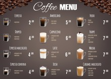 Coffee Drinks Menu Price List Vector Template