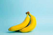 Bananas On A Blue Pastel Backg...