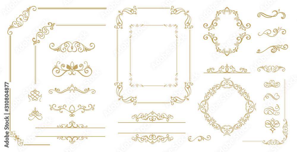Fototapeta Luxury Gold vintage invitation vector set. Ornamental curls, dividers, Border design  and golden components design  for wedding invite, menus, certificates, boutiques, spa and logo design.