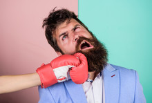 Businessman Failed. Knockout Punching. Who Is Right. Strength And Power. Family Life. Woman Boxing Glove Beat Man. Problems In Relationship. Sport. Bearded Man Hipster Defeated By Woman