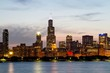 Beautiful Chicago skyline at evening, USA