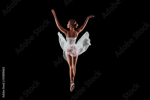 Fotografie, Obraz ballerina dancing in studio on a black background