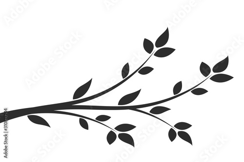 Silhouette of a branch with leaves Fototapeta