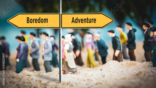 Street Sign to Adventure versus Boredom Canvas Print