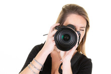 Cute Woman Photographer Taking Photos With Dslr Camera Photography