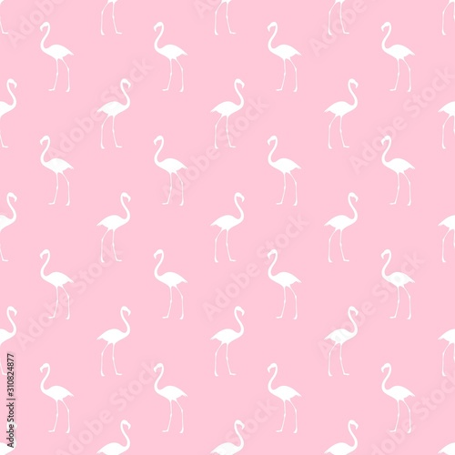 Flamingo pattern. Seamless background with pink bird. Exotic tropical repeated banner.