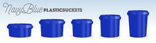 Navy Blue Plastic Buckets